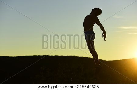 Healthy Lifestyle And Sport Concept. Man With Sportive Figure