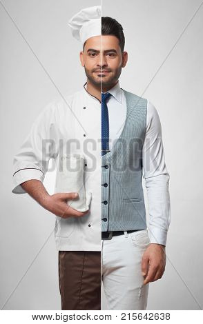 Combined portrait of a handsome young man dressed as a businessman and as a cooking chef people lifestyle collage professions occupation jobs career success diversity concept.