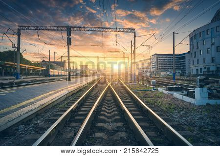 Railway Station And Beautiful Colorful Sky At Sunset