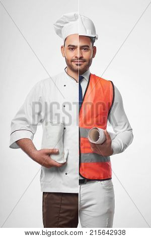 Combined shot of a young hispanic handsome man dressed as a chef and a professional architect wearinh safety vest and hardhat holding blueprints profession occupation hobby cooking food concept.