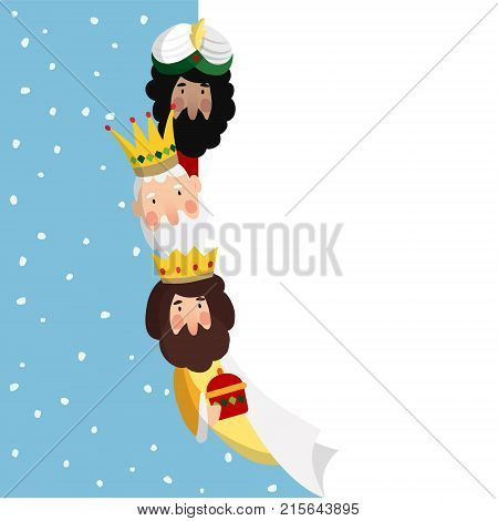 Three magi. Biblical kings Caspar, Melchior and Balthazar. Vector illustration background. Web banner for Spanish Dia del Reyes holiday with blank list of paper.