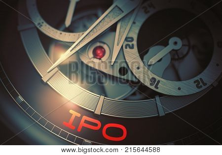 IPO - Initial Public Offering - Inscription on the Old Wrist Watch with Visible Mechanism, Clockwork Up Close. Luxury, Mens Vintage Accessory. Time and Work Concept. 3D.