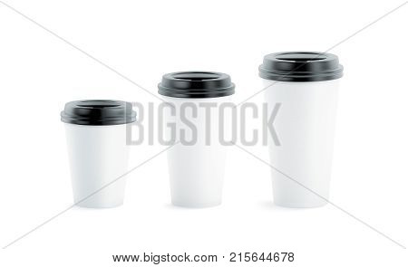 Blank white disposable paper cup mock ups with black lids isolated 3d rendering. Empty coffee drinking mug mockup front view. Clear tea take away plastic package cofe shop branding template.