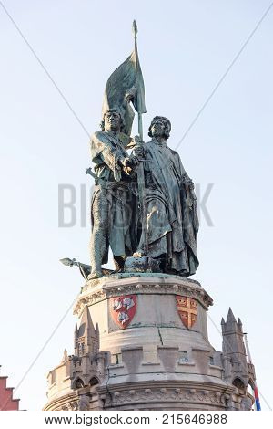 Bruges, Belgium - April 15, 2017: Monument to Jan Breydel and Pieter de Coninck in Bruges, Belgium