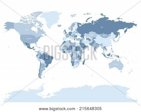 World map in four shades of silver blue on white background. High detail political map with country names. Vector illustration.