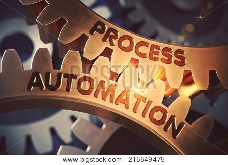 Process Automation Golden Metallic Cogwheels. Process Automation - Illustration with Glow Effect and Lens Flare. 3D Rendering.