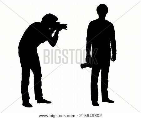 set of realistic vector silhouettes of kneeling and standing photographer with telephoto and backpack isolated on white background