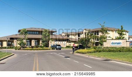 MORGANTOWN, WEST VIRGINIA - JUNE 12, 2016: Modern Domain student housing at West Virginia University in Morgantown