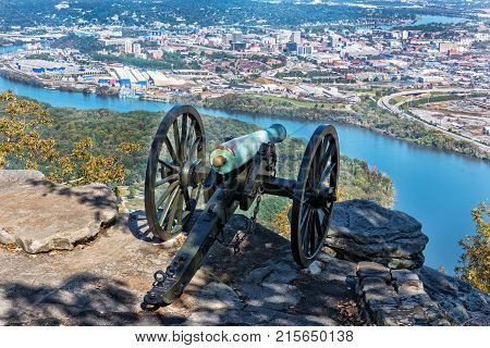 Cannon Overlooking Moccasin Bend And The City Of Chattanooga Tennessee From The Point Park Civil War Museum