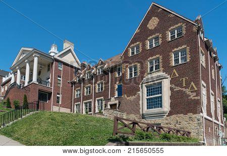 MORGANTOWN, WEST VIRGINIA - JUNE 12, 2016: Sigma Alpha Epsilon Greek Letter Organization housing at West Virginia University in Morgantown