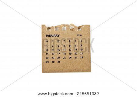 January. Calendar sheet. Two thousand eighteen year calendar on white background.