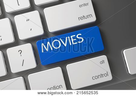 Movies Concept Modern Laptop Keyboard with Movies on Blue Enter Button Background, Selected Focus. 3D Illustration.