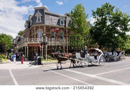 NIAGARA ON THE LAKE, CANADA - JUNE 28, 2016: Prince of Wales hotel on Picton street of Niagara-on-the-Lake
