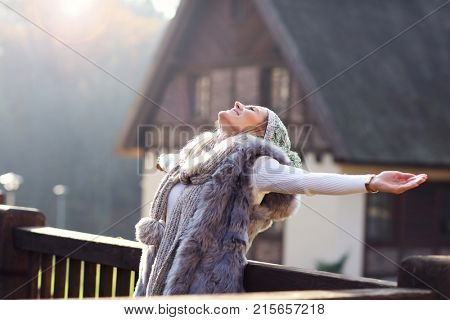 Picture showing happy woman enjoying winter season outdoors
