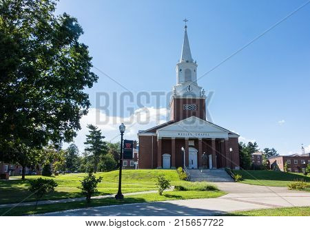 BUCHANNON, WEST VIRGINIA - AUGUST 13, 2016: Wesley Chapel in grounds of West Virginia Wesleyan College in Buckhannon WV, USA
