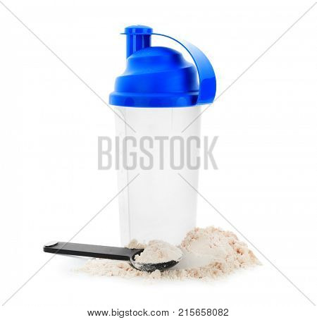 Protein shake and spoon with protein powder on white background