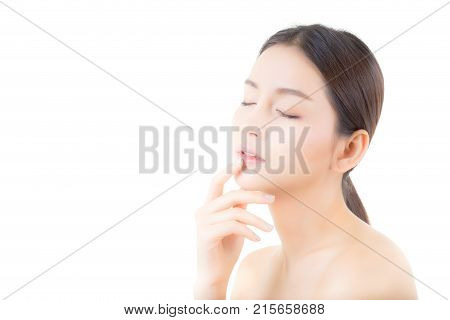Beautiful girl with makeup woman and skin care concept / attractive asia girl smilling on face on white background.