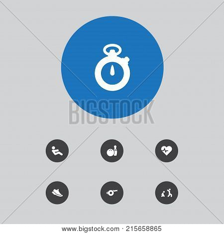 Collection Of Do Abs, Kegling, Blower And Other Elements.  Set Of 7 Fitness Icons Set.