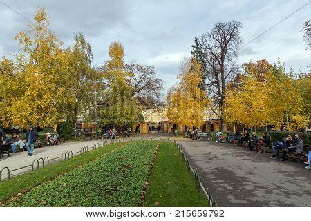 SOFIA, BULGARIA - NOVEMBER 12, 2017: Park in front of National Theatre Ivan Vazov in Sofia, Bulgaria