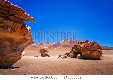 Piedra Arbol, one of the amazing rock and stone formations on the bolivian Altiplano, Bolivia