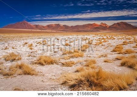 Dry and desolate landscape in southern part of bolivian Altiplano, Bolivia, South America