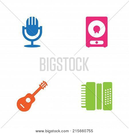 Collection Of Acoustic, Amplifier, Harmonica And Other Elements.  Set Of 4 Song Icons Set.