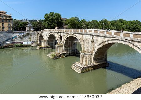 ROME, ITALY - JUNE 23, 2017: Amazing view of Tiber River and Ponte Sisto in city of Rome, Italy