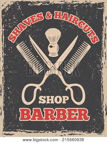 Shopping logo in retro style. Barbershop poster salon, barber shop vintage, vector illustration
