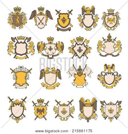 Colored pictures set of heraldic elements. Vector shield with eagle and lion, royal heraldic majestic illustration