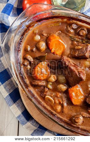 Beef Bourguignon Stew In A Casserole Dish