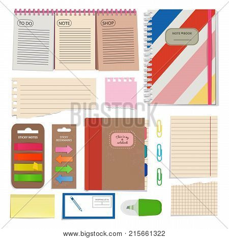 Diary, blank papers, notepad and other organizer tools. Vector pictures set isolate. Organizer and notebook, notepad binder illustration