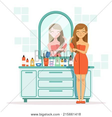 Happy woman combing hair a front of mirror. Girl with comb in bathroom, vector morning combing illustration
