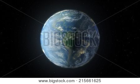 The rotation of earth from space 3d illustration