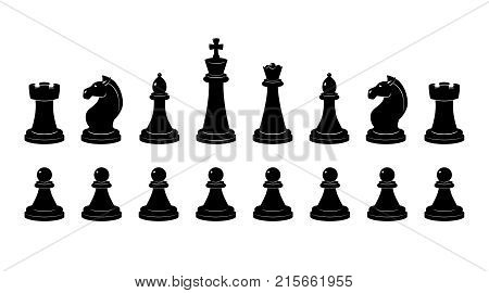 Silhouette of chess. Vector monochrome illustrations isolate. Chessman and chess figure classical profile