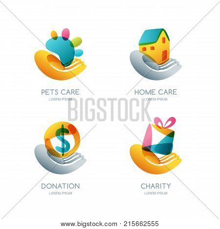 Set Of Charity, Donation And Care Vector Logo, Icon, Emblem. Concept For Voluntary Humanitarian Help
