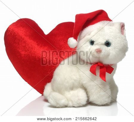 happy Merry X mas cute doll and Red hart.