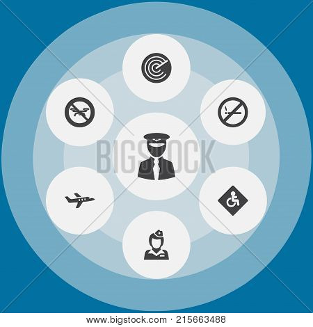 Collection Of Forbidden, Hostess, Radiolocator And Other Elements.  Set Of 7 Airplane Icons Set.