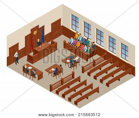 Isometric symbol of law and justice in the courtroom. Vector illustration judge bench defendant attorneys audience. Courtroom proceedings.