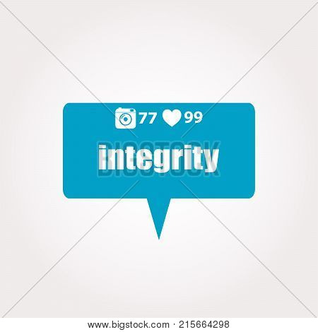Business Concept. Word Integrity . Labels With Text, Heart, Camera And Counters