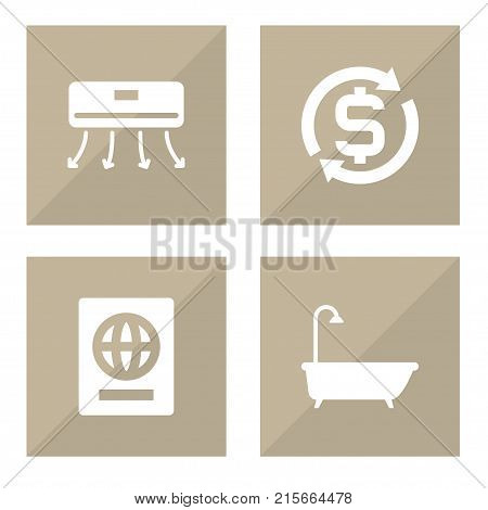 Collection Of Citizenship, Currency, Wall Cooler And Other Elements.  Set Of 4 Motel Icons Set.