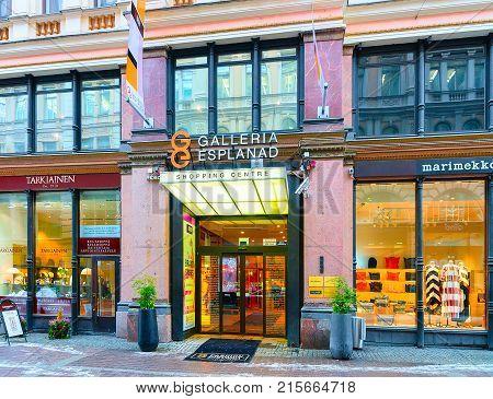 Helsinki Finland - March 8 2017: Entrance into Galleria Esplanad shopping center in Helsinki Finland in winter.
