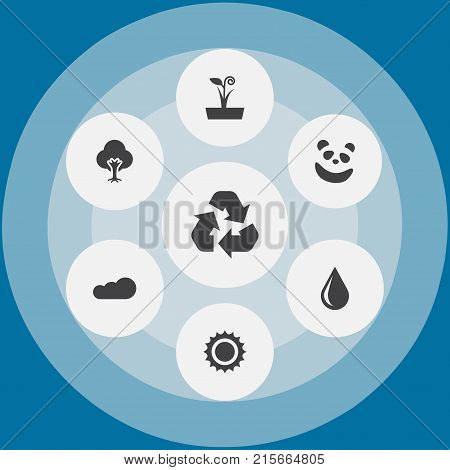 Collection Of Flowerpot, Blob, Overcast And Other Elements.  Set Of 7 Natural Icons Set.