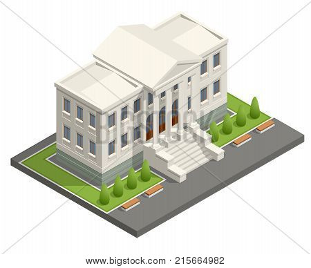 Isometric courthouse building. Law and justice concept. Vector illustration.
