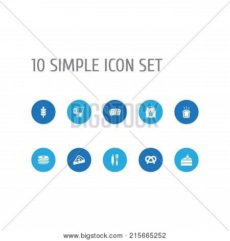 Collection Of Pepperoni, Grain, Crepe And Other Elements.  Set Of 10 Food Icons Set.