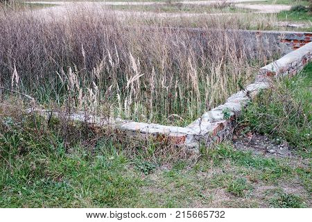 A broken stone Foundation of the old building and overgrown grass