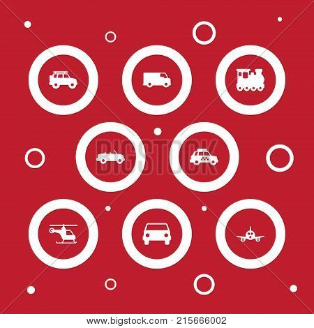 Collection Of Aircraft, Hatchback, Taxicab And Other Elements.  Set Of 8 Shipping Icons Set.