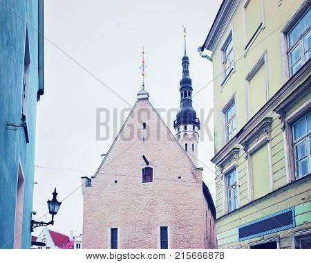 Steeple of Town Hall at the Old city of Tallinn Estonia in winter.