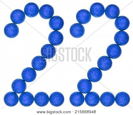 Numeral 22, Twenty Two, From Decorative Balls, Isolated On White Background