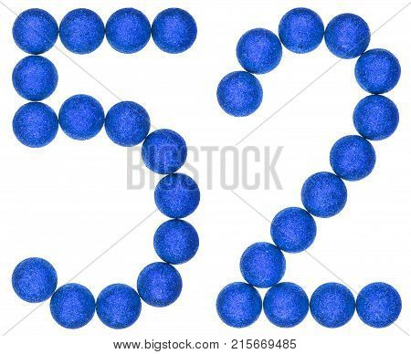 Numeral 52, Fifty Two, From Decorative Balls, Isolated On White Background