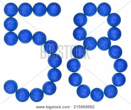 Numeral 58, Fifty Eight, From Decorative Balls, Isolated On White Background